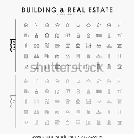 Condominium building thin line icon Stock photo © RAStudio