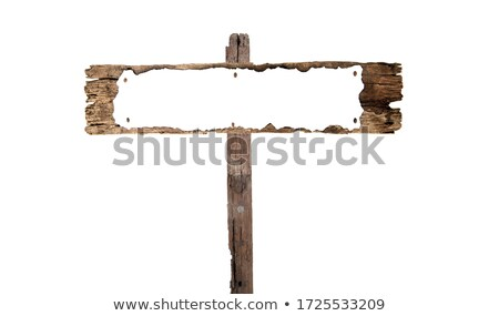 empty metal sign on a wooden wall stock photo © zerbor