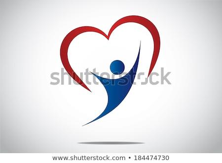 Foto stock: Homem · mulher · coração · amor · azul · vermelho