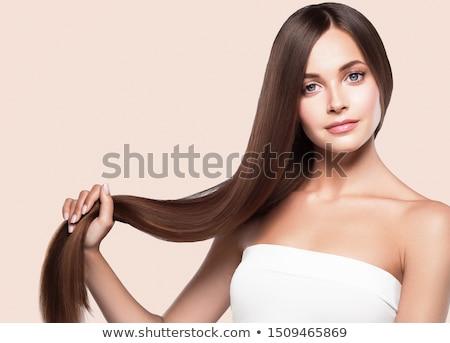 девушки длинные волосы брюнетка глядя плечо портрет Сток-фото © nizhava1956