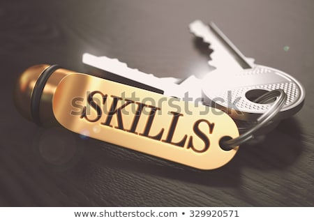 Stock fotó: Kulcsok · szó · képességek · arany · címke · fekete