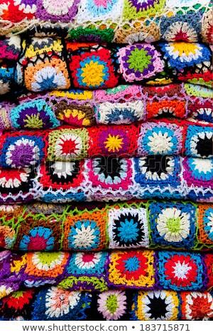 Croché labor de retazos colorido patrón tejido manta Foto stock © lunamarina