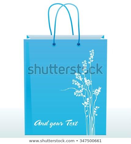 kâğıt · alışveriş · çantası · dekore · edilmiş · siluetleri · çiçekler · mavi - stok fotoğraf © elgusser