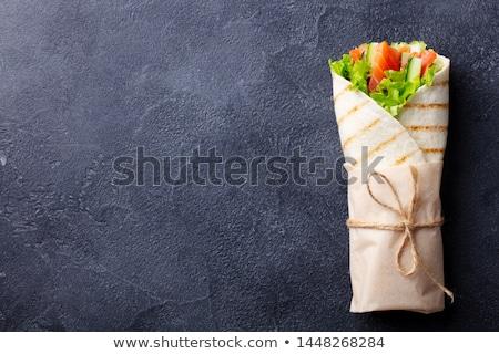 Zalm sandwich tortilla verse groenten gerookte zalm Stockfoto © Digifoodstock