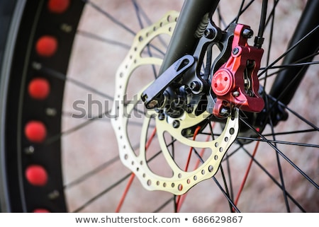 close up of front part of red and black mountain bicycle stock photo © ziprashantzi