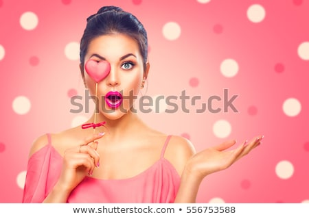 Mooie vrouw valentijnsdag tonen Rood harten sexy Stockfoto © gabor_galovtsik