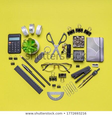 Сток-фото: калькулятор · блокнот · пер · зеленый · завода · серый