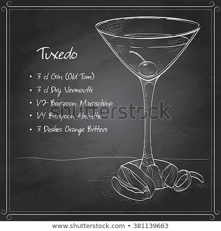Tuxedo cocktail on black board Stock photo © netkov1
