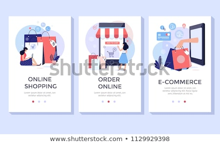 Online Shopping And Delivery Flat Banners Set stock photo © Genestro