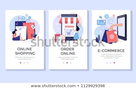 Compras on-line entrega banners conjunto colorido ícones Foto stock © Genestro