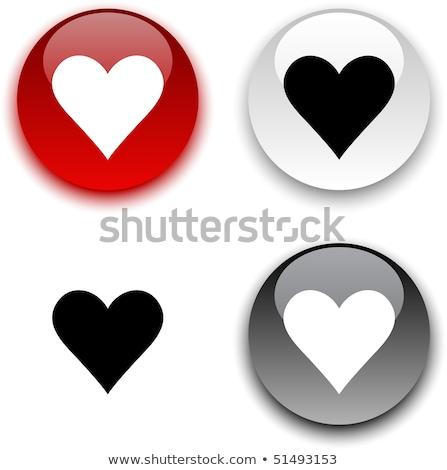 Stok fotoğraf: Kalp · ikon · parlak · siyah · düğme · mutlu