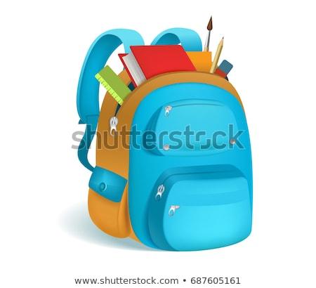 School supplies on blue background. EPS 10 Stock photo © beholdereye