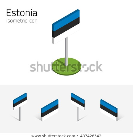 Vierkante icon vlag Estland 3d illustration geïsoleerd Stockfoto © MikhailMishchenko