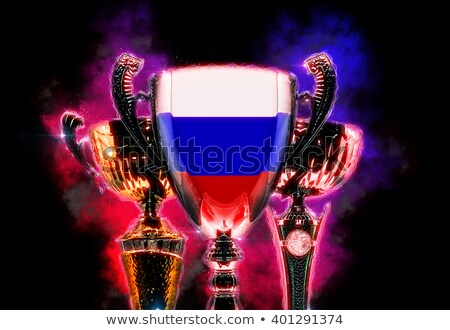 trophy cup textured with flag of russia digital illustration stock photo © kirill_m