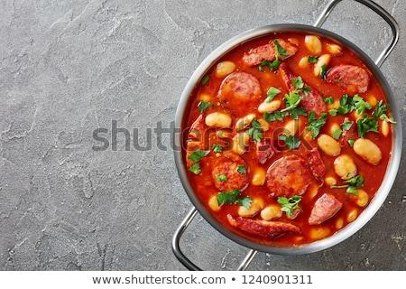 fasulye · sosis · plaka · gıda - stok fotoğraf © digifoodstock