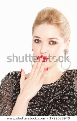 Retrato bela mulher mão lábios cinza brilhante Foto stock © artfotodima