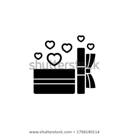 coffret · cadeau · blanche · flocons · de · neige · rouge · eps · carte - photo stock © beholdereye