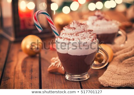 christmas chocolate with whipped cream and spice Stock photo © M-studio