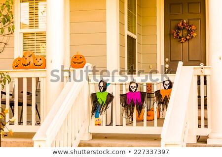 Halloween tökök ajtó lépcső éjszakai jelenet közelkép Stock fotó © hraska