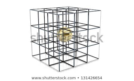 arany · kocka · acél · dobozok · absztrakt · doboz - stock fotó © MONARX3D