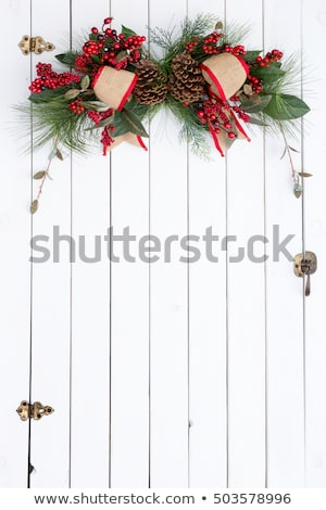 White barn door with rustic Christmas decoration Stock photo © ozgur