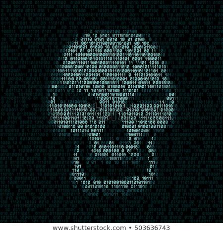 コード テクスチャ 頭蓋骨 プログラミング 青 ハッカー ストックフォト © romvo