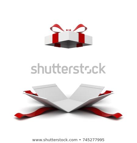 geschenkdoos · lint · label · witte · papier · bruiloft - stockfoto © djmilic