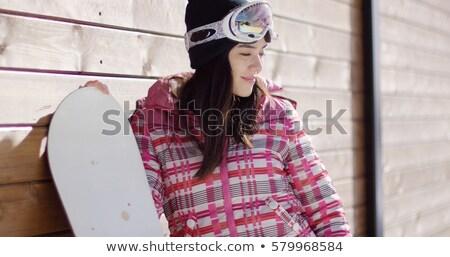 Vrouw roze snowboard gelukkig jonge vrouw grond Stockfoto © dash