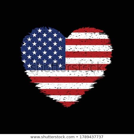 флаг · Америки · формы · сердца · искусства · цвета · белый - Сток-фото © orensila