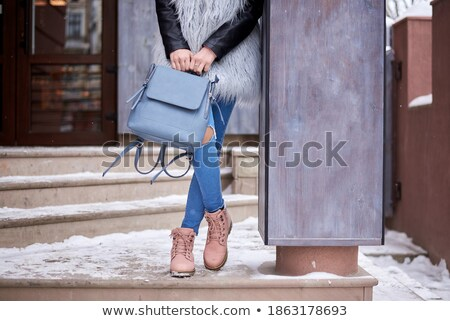 brunette girl holiday portrait fashionable woman in pink fur co stock photo © victoria_andreas