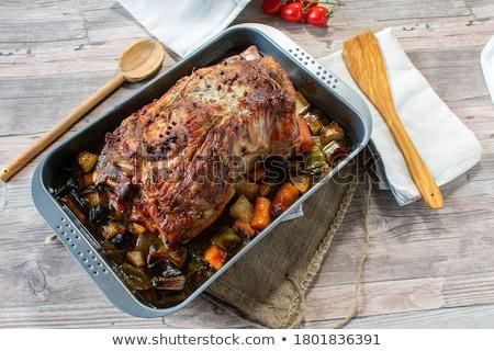 Domuz eti sebze parçalar plaka öğle yemeği Stok fotoğraf © Digifoodstock