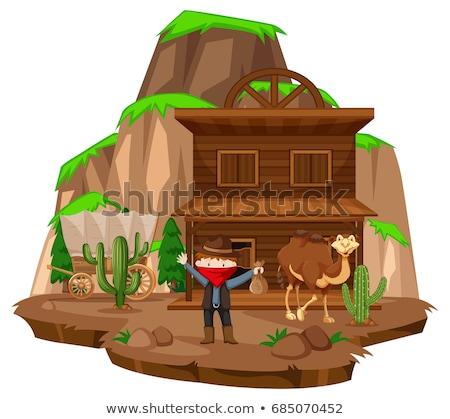 Cowboy város rabló teve illusztráció épület Stock fotó © bluering