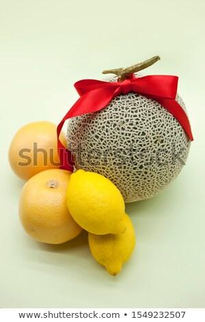 Zöld grapefruit vörös szalag íj friss étel Stock fotó © Digifoodstock
