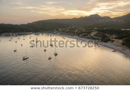 légifelvétel · kikötő · Görögország · tenger · csónak · madarak - stock fotó © goce