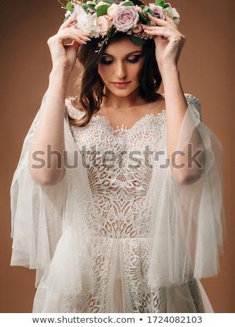 Retrato noiva vestido de noiva coroa moda olhos Foto stock © dmitriisimakov