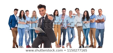 happy woman sitting with tablet and makes ok sign stock photo © feedough