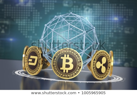 Exchange bitcoin. Crypto currency stock exchange sign. Virtual m Stock photo © MaryValery