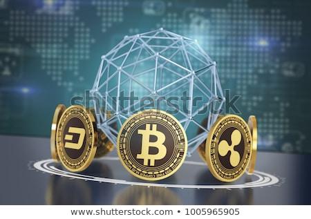 bitcoin · dollaro · icona · lungo · ombra · soldi - foto d'archivio © maryvalery