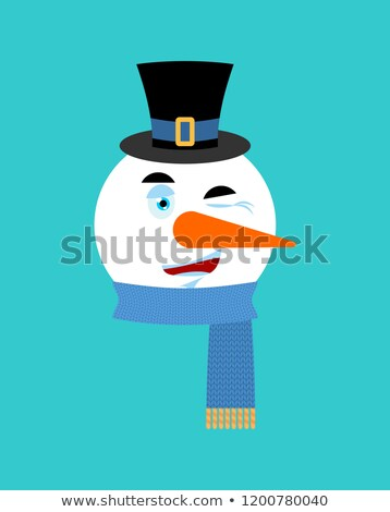 snowman winking emotion avatar happy emoji face new year and stock photo © popaukropa