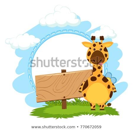 Girafe permanent illustration herbe nature Photo stock © bluering