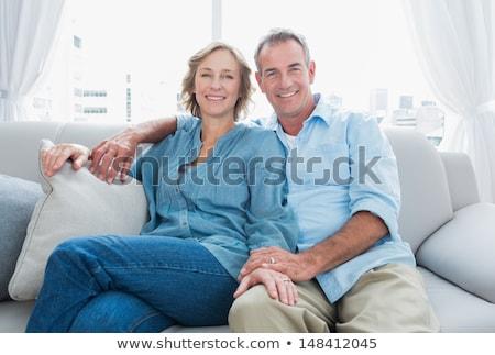 Középkorú pár ölelkezés együtt férfi kávé Stock fotó © IS2