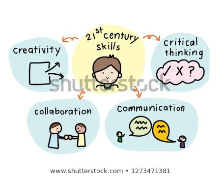Business cooperazione doodle giallo testo cartoon Foto d'archivio © tashatuvango