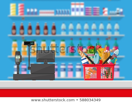 shop counter with cashier icon in flat style stock photo © studioworkstock