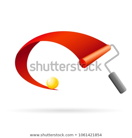 red ribbon with golden ball and painting roller Stock photo © djdarkflower
