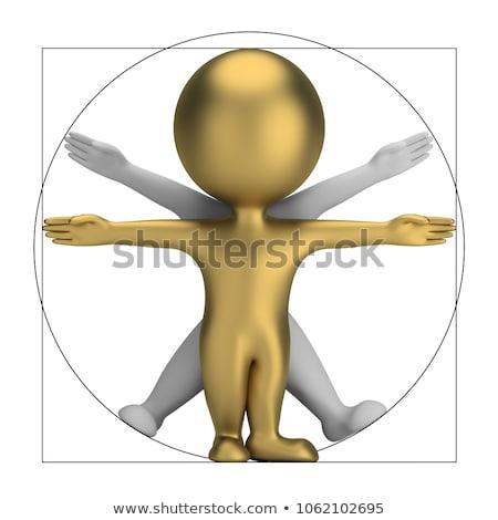 Stock photo: 3d small people - vitruvian man