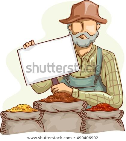 Farmer Price Board Grains Stock photo © lenm