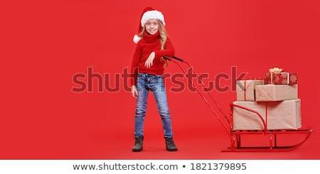 Retrato menina trenó presentes neve inverno Foto stock © IS2