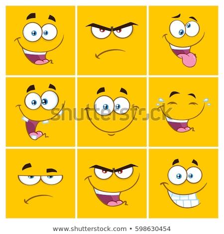 Sonriendo Cartoon cuadrados feliz cara Foto stock © hittoon