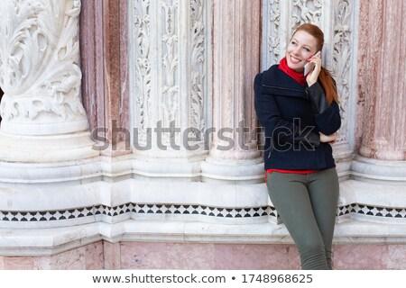 Nő beszél mobiltelefon Velence portré kommunikáció Stock fotó © IS2