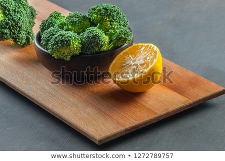 西蘭花 檸檬 碗 橄欖油 大蒜 商業照片 © Lana_M